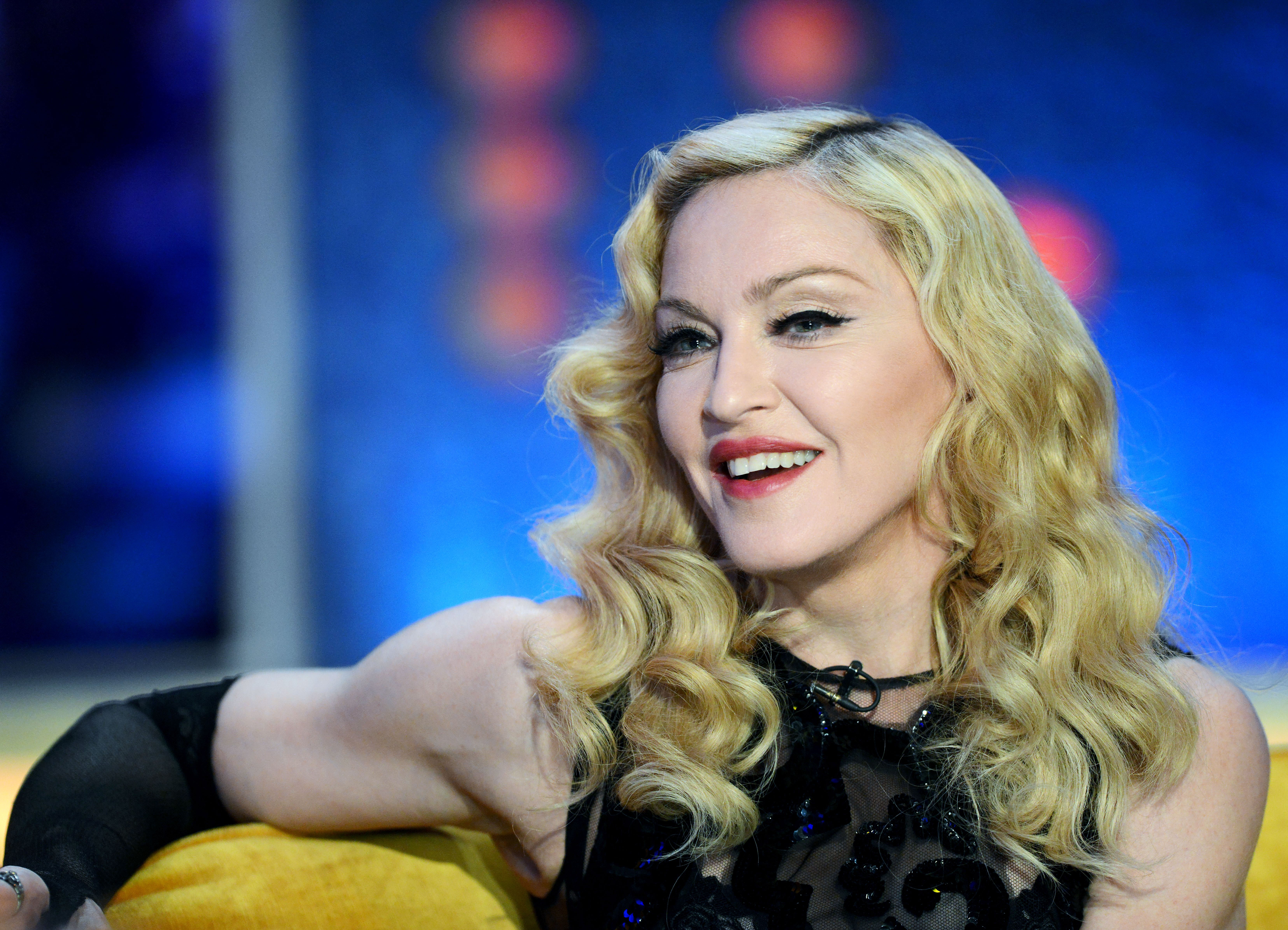 EXCLUSIVE -  EDITORIAL USE ONLY / NO MERCHANDISING Mandatory Credit: Photo by Dave Hogan/Hotsauce/REX (4462483f) Madonna 'The Jonathan Ross Show - Madonna Special' TV Programme, London, Britain. - 14 Mar 2015